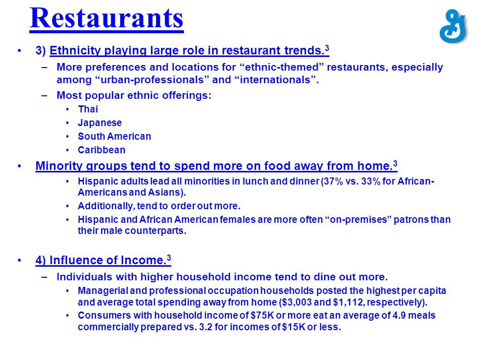 Restaurants 3) Ethnicity playing large role in restaurant trends.3