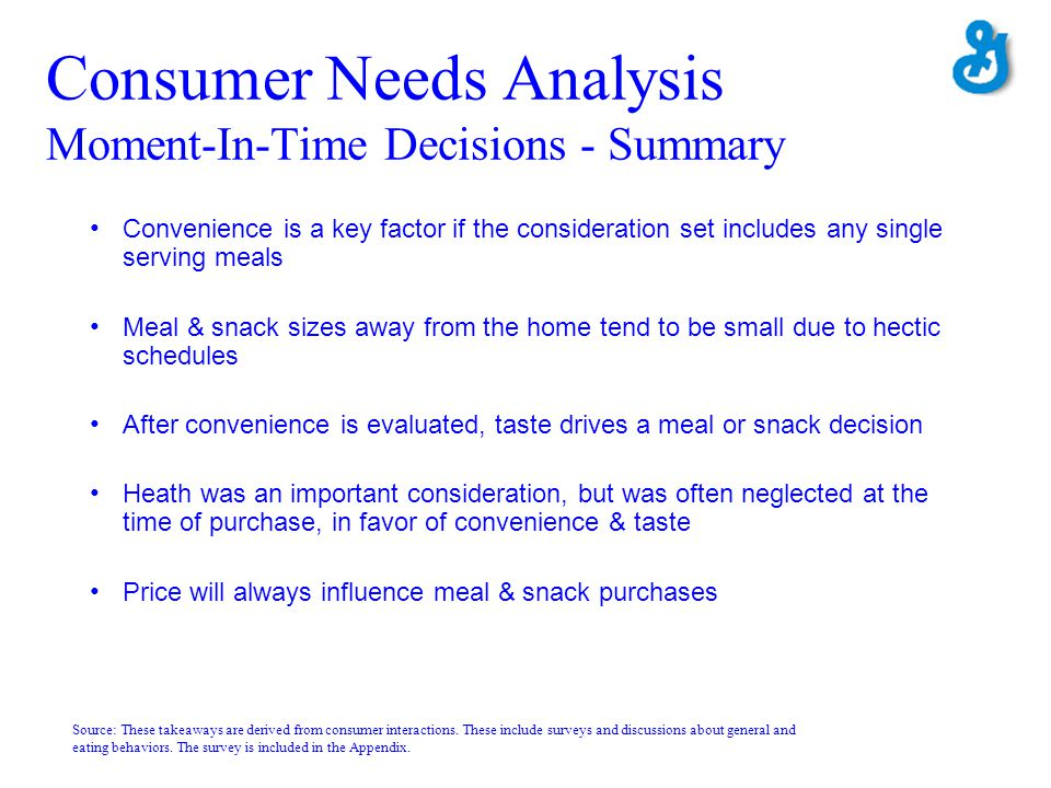 Consumer Needs Analysis Moment-In-Time Decisions - Summary