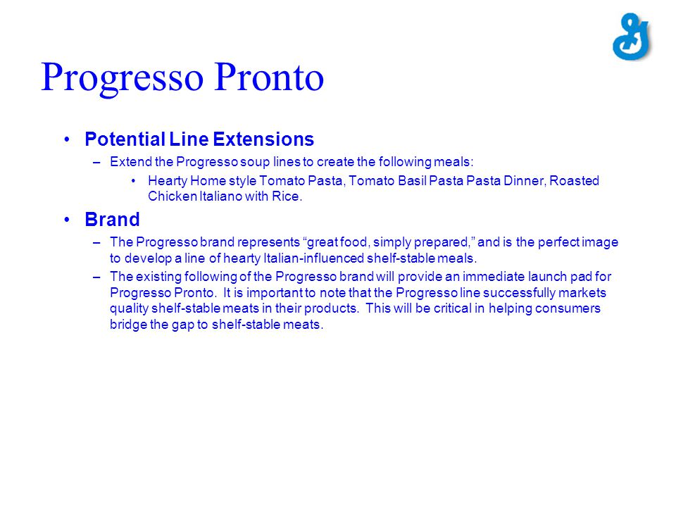 Progresso Pronto Potential Line Extensions Brand