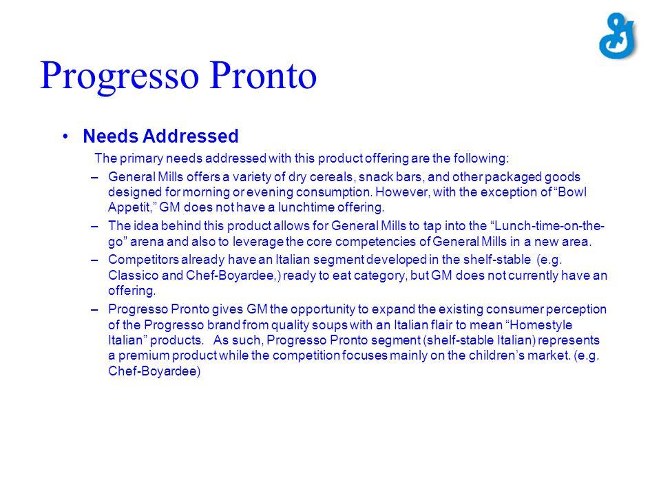 Progresso Pronto Needs Addressed
