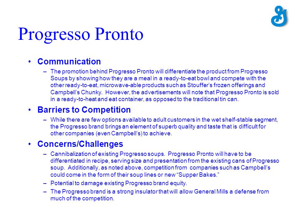 Progresso Pronto Communication Barriers to Competition