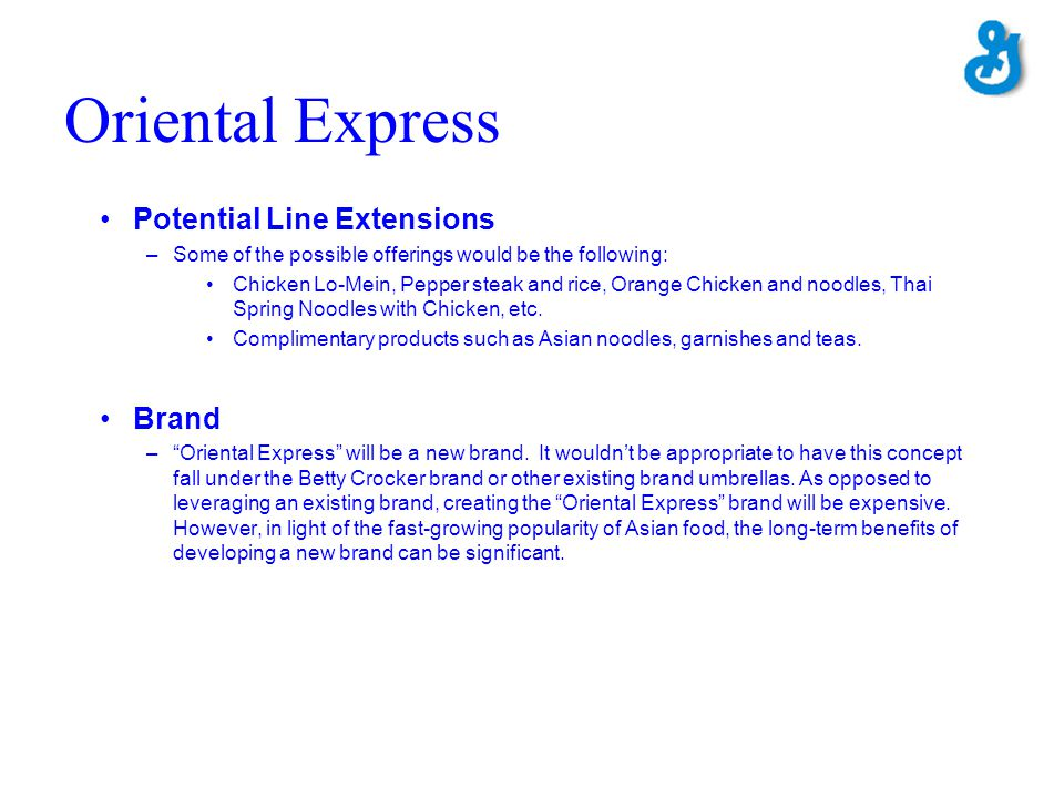 Oriental Express Potential Line Extensions Brand