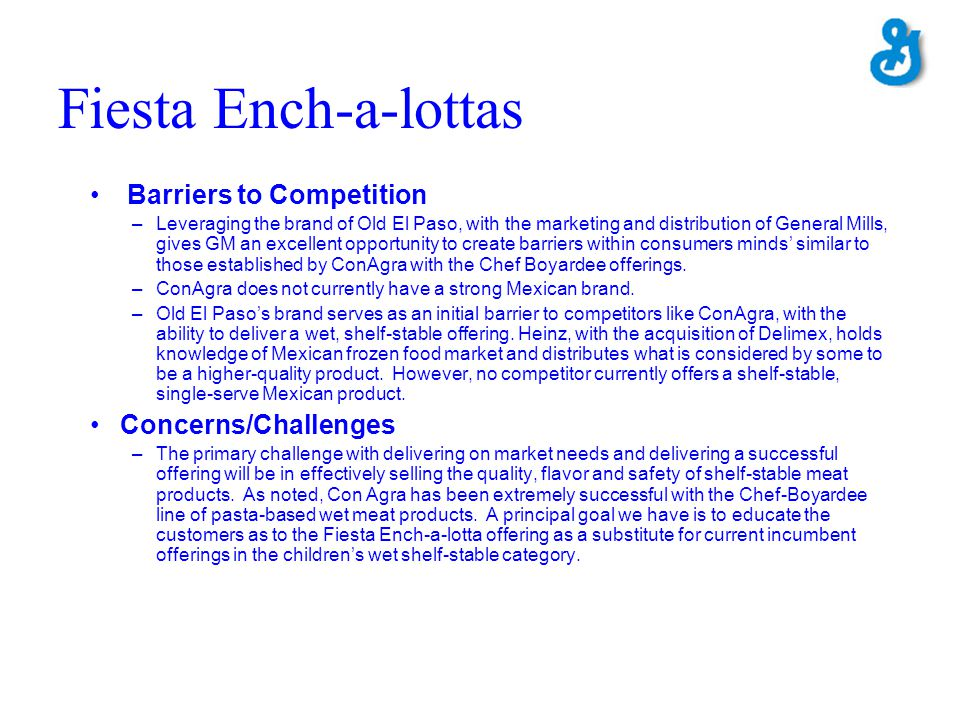Fiesta Ench-a-lottas Barriers to Competition Concerns/Challenges