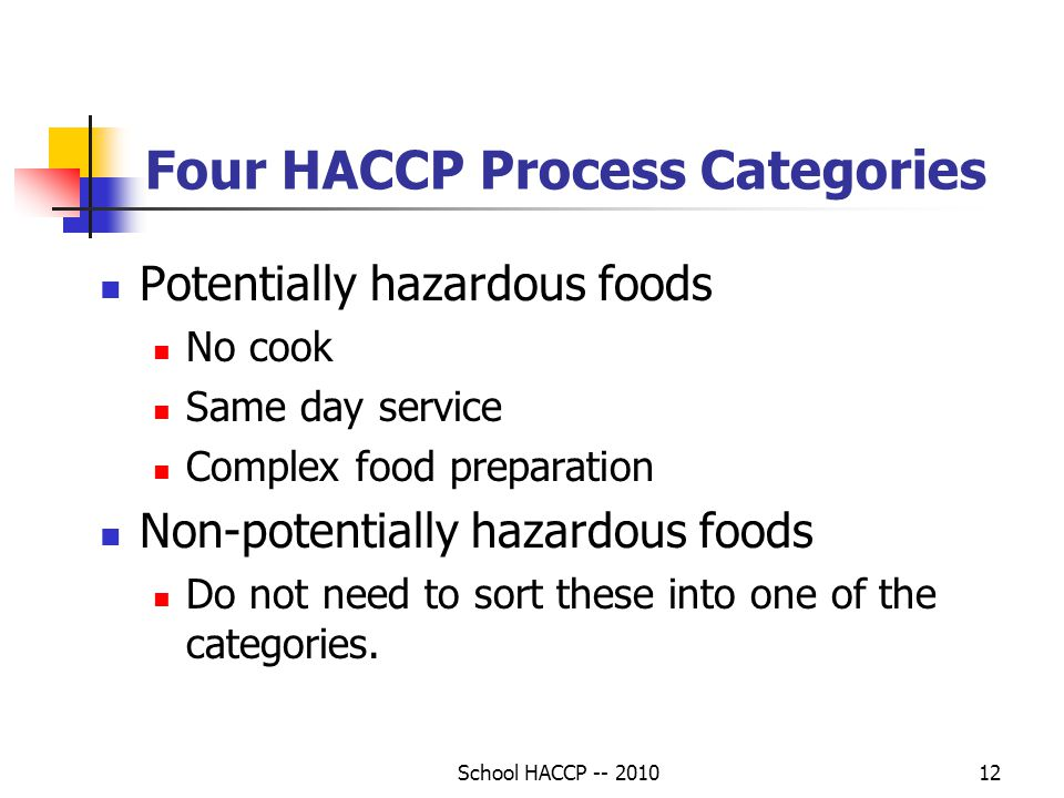 Four HACCP Process Categories