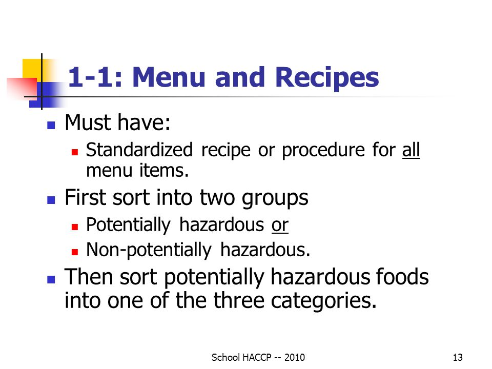 1-1: Menu and Recipes Must have: First sort into two groups