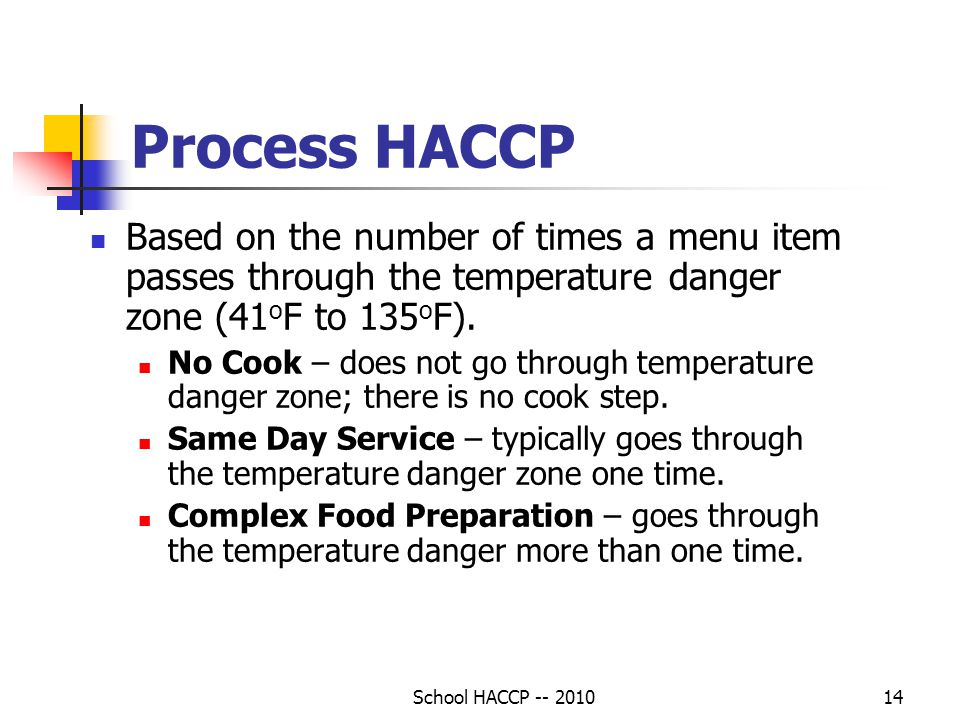 Process HACCP Based on the number of times a menu item passes through the temperature danger zone (41oF to 135oF).