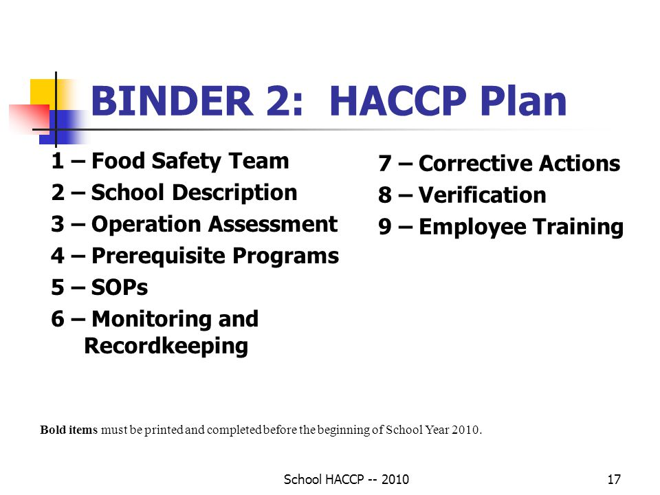 BINDER 2: HACCP Plan 1 – Food Safety Team 7 – Corrective Actions