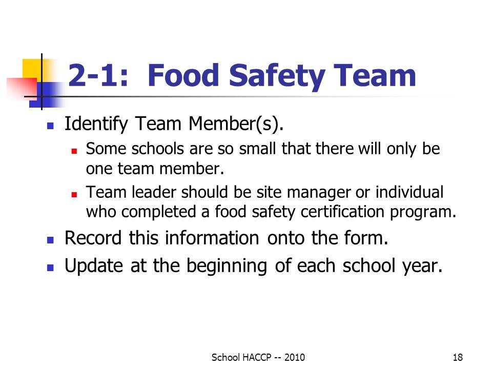 2-1: Food Safety Team Identify Team Member(s).