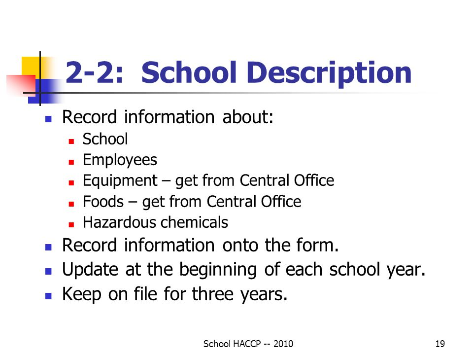 2-2: School Description Record information about:
