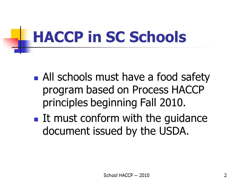 HACCP in SC Schools All schools must have a food safety program based on Process HACCP principles beginning Fall 2010.