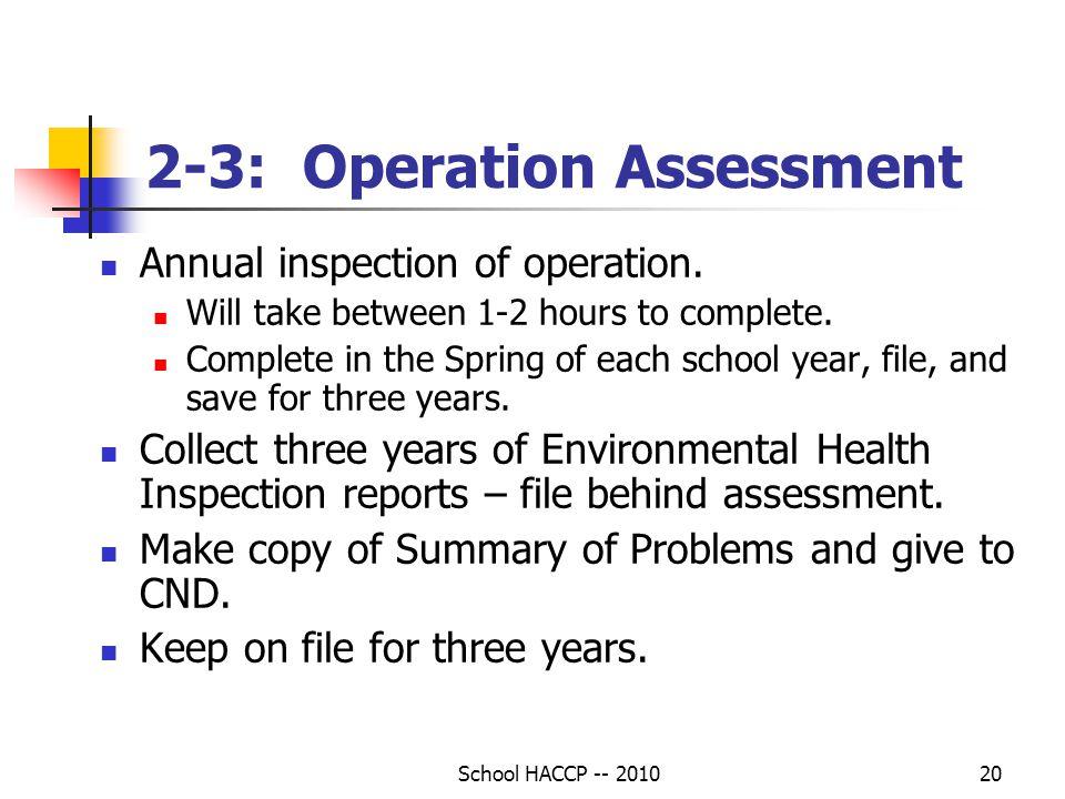 2-3: Operation Assessment