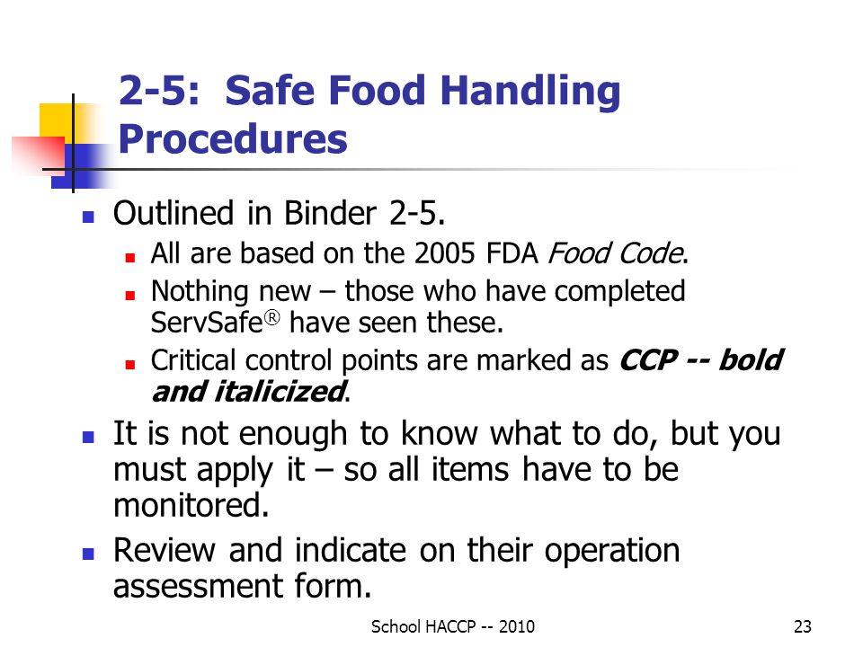 2-5: Safe Food Handling Procedures