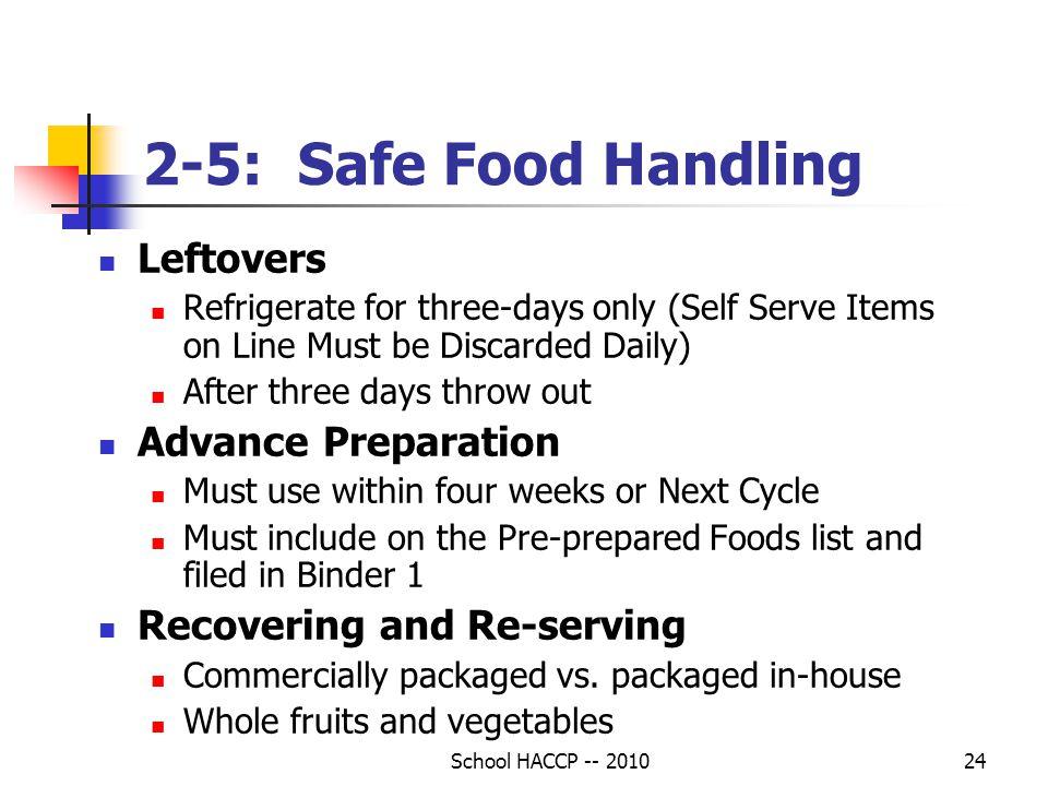 2-5: Safe Food Handling Leftovers Advance Preparation