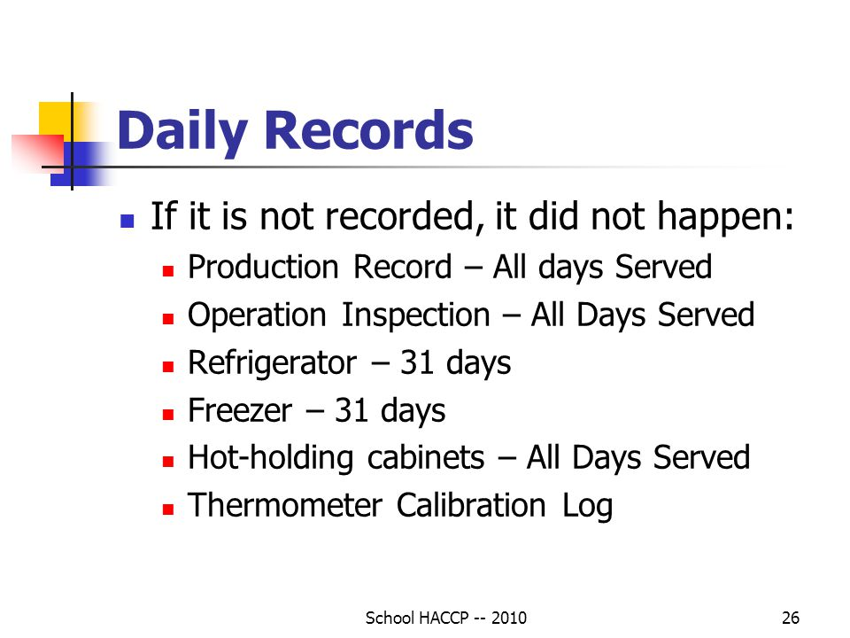 Daily Records If it is not recorded, it did not happen:
