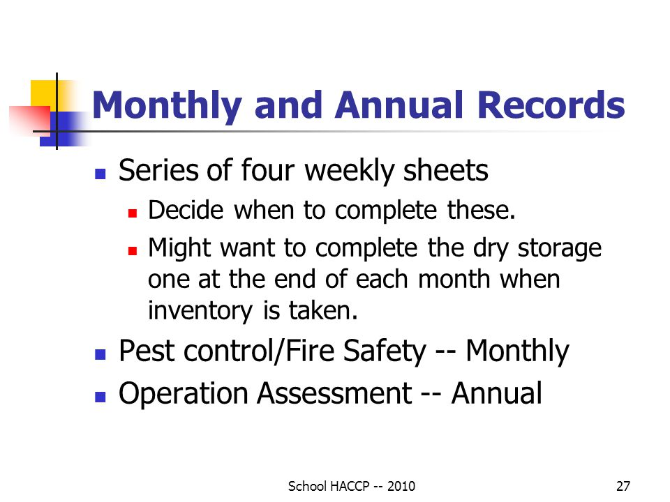 Monthly and Annual Records