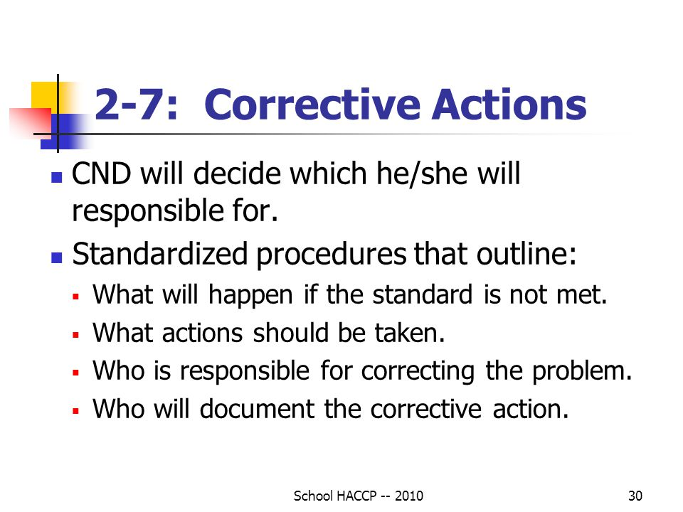 2-7: Corrective Actions CND will decide which he/she will responsible for. Standardized procedures that outline: