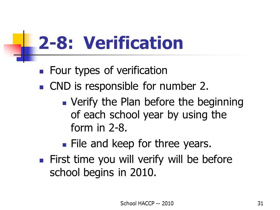2-8: Verification Four types of verification