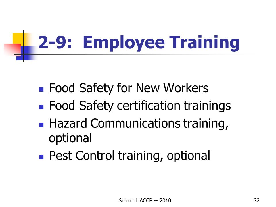 2-9: Employee Training Food Safety for New Workers
