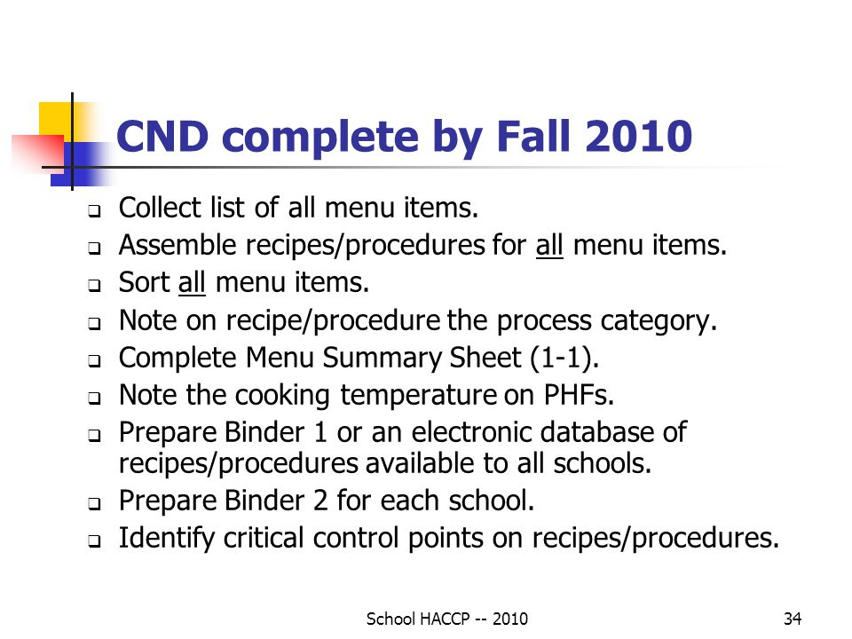 CND complete by Fall 2010 Collect list of all menu items.
