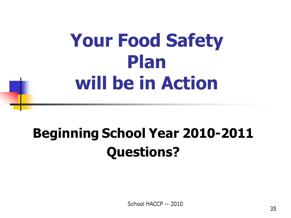 Your Food Safety Plan will be in Action