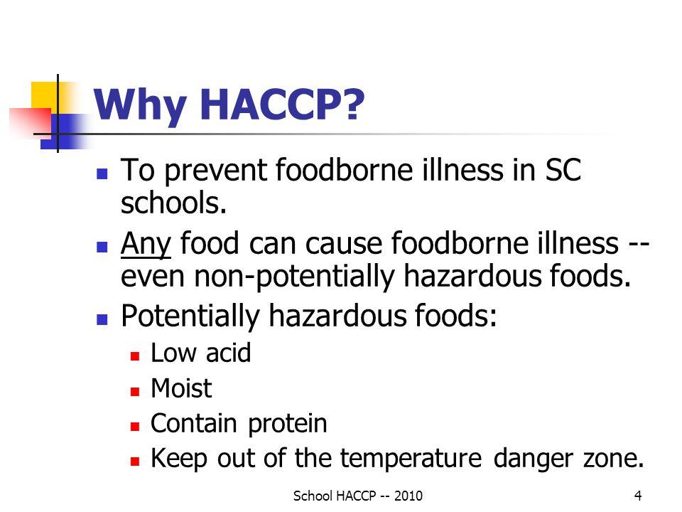 Why HACCP To prevent foodborne illness in SC schools.
