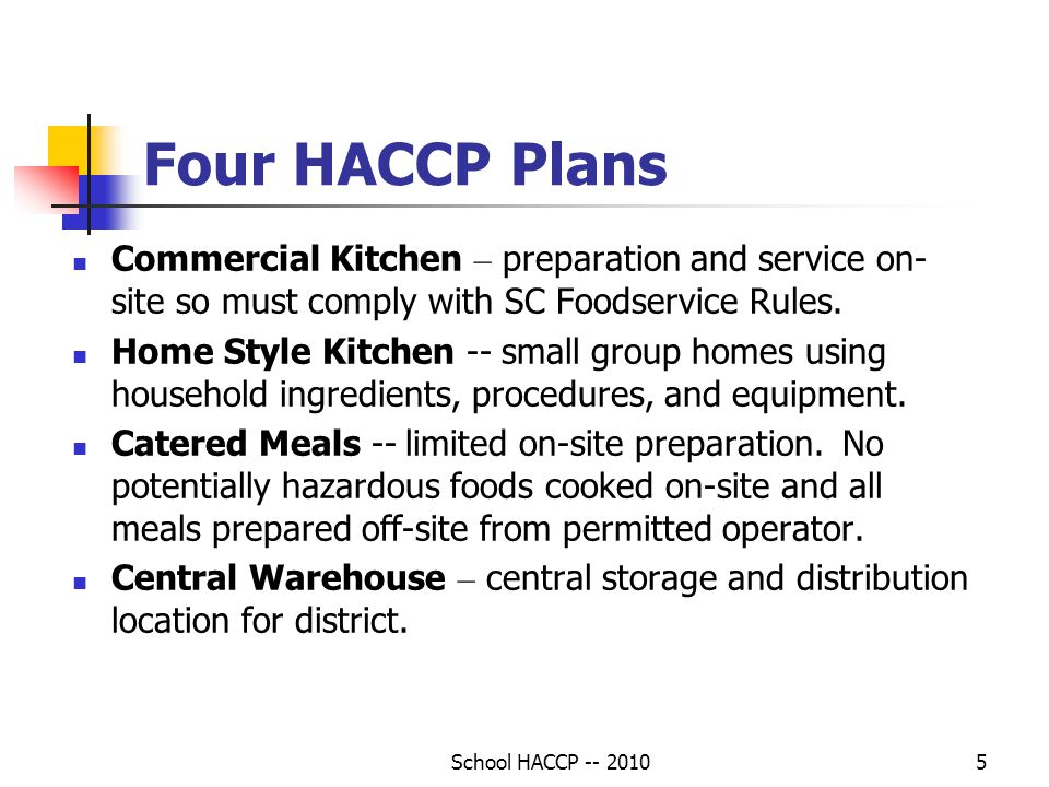 Four HACCP Plans Commercial Kitchen – preparation and service on-site so must comply with SC Foodservice Rules.