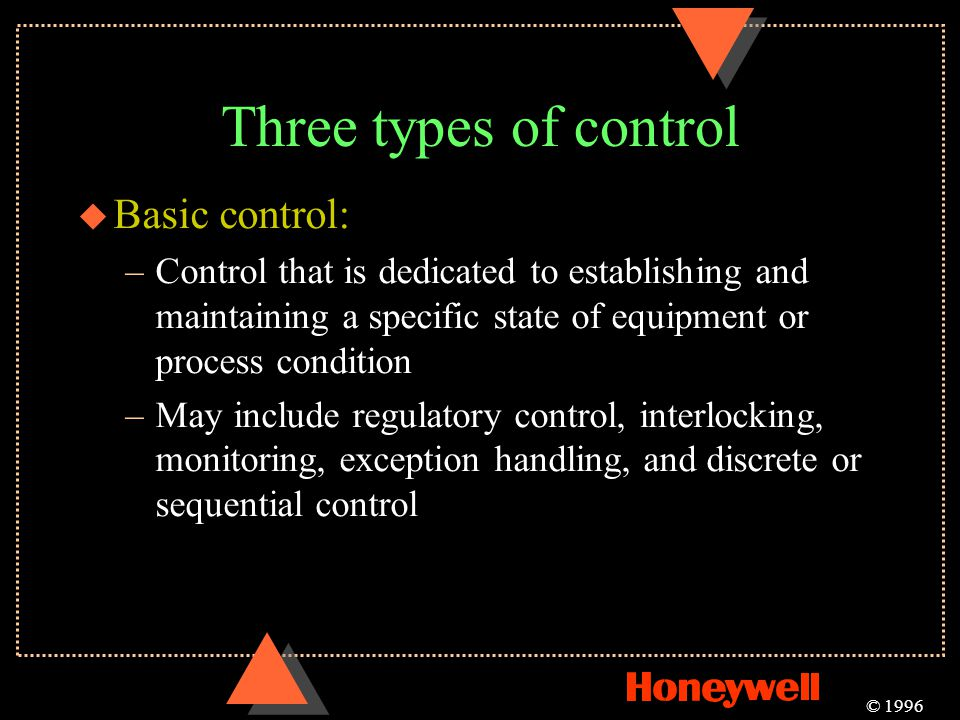 Three types of control Basic control: