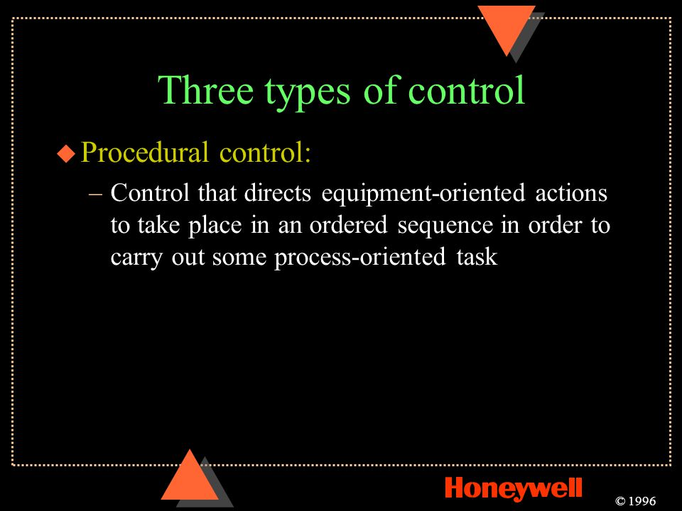 Three types of control Procedural control: