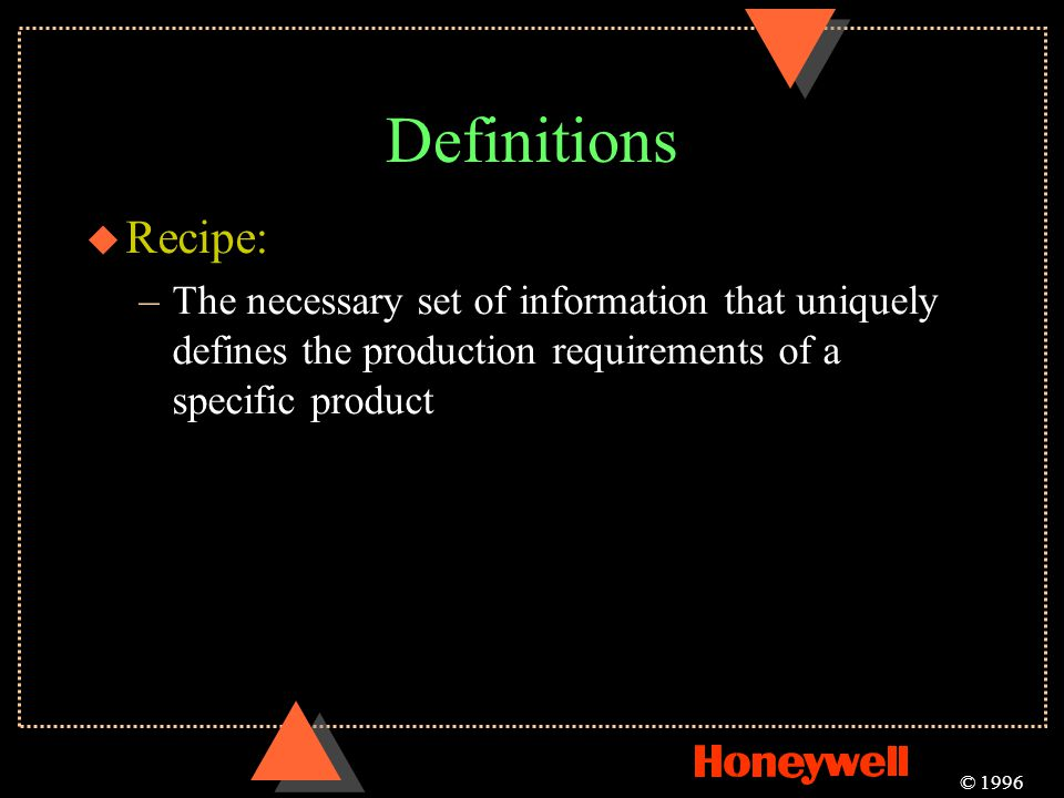 Definitions Recipe: The necessary set of information that uniquely defines the production requirements of a specific product.