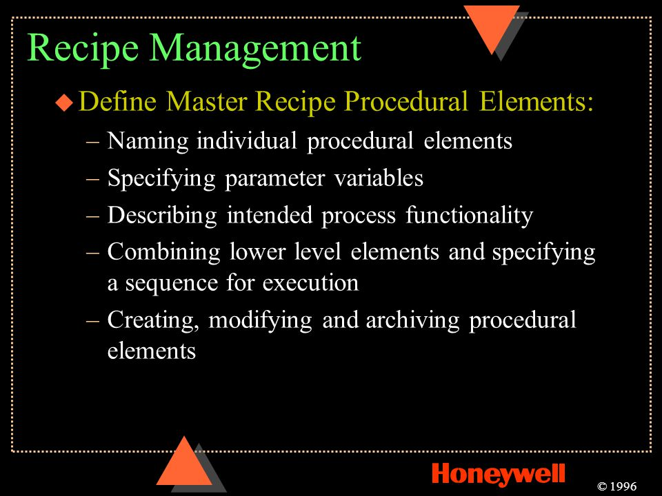 Recipe Management Define Master Recipe Procedural Elements:
