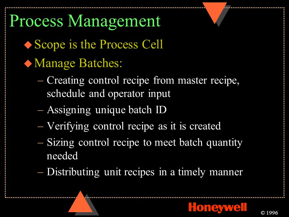 Process Management Scope is the Process Cell Manage Batches: