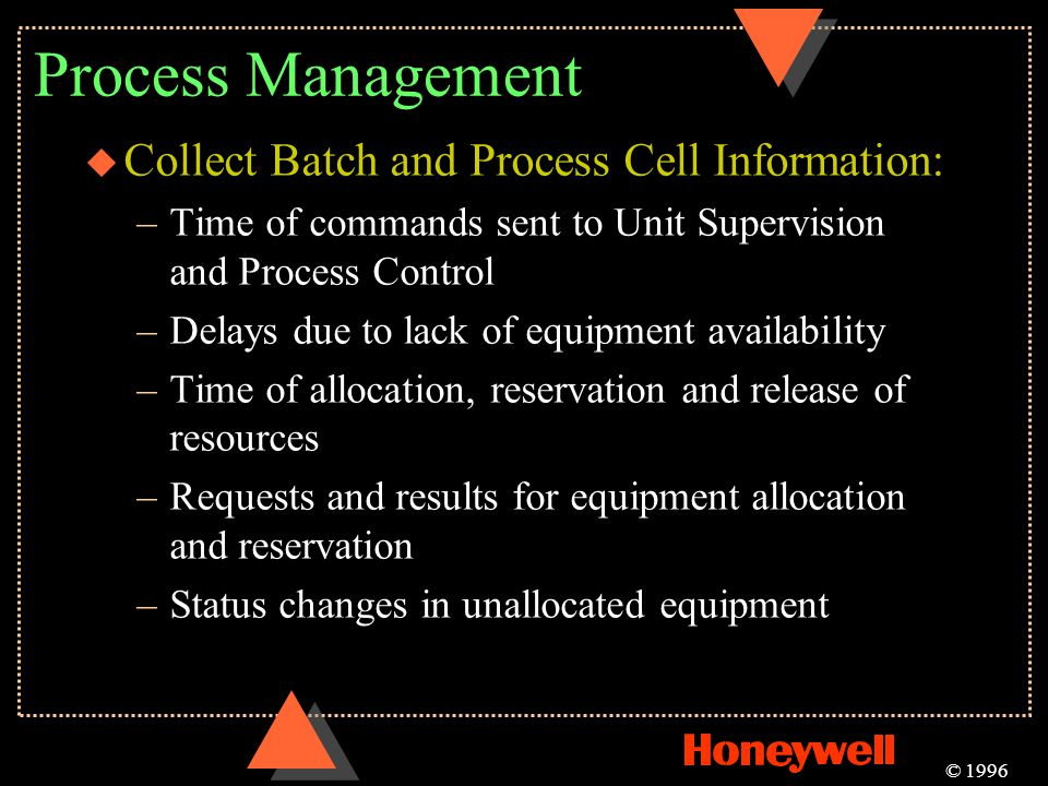 Process Management Collect Batch and Process Cell Information: