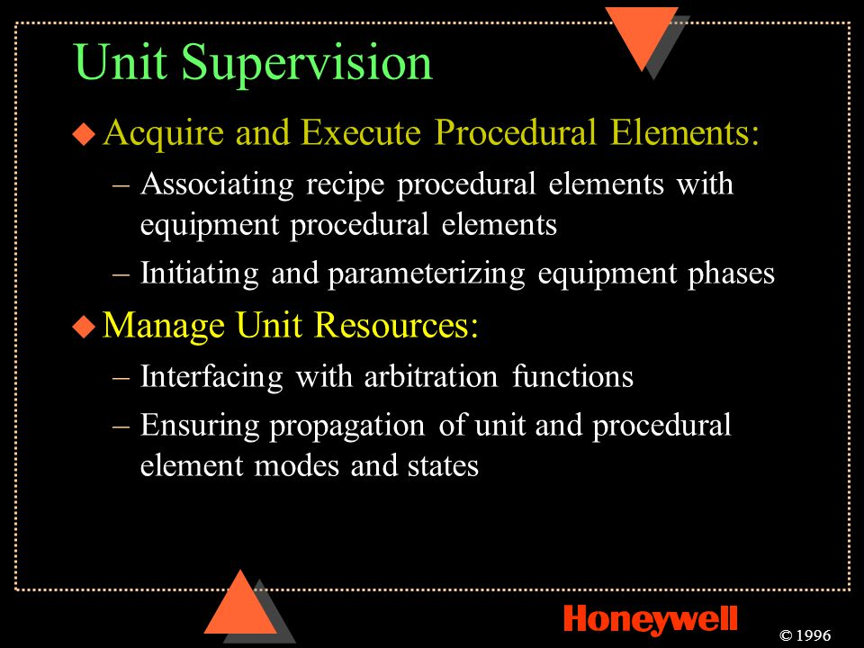 Unit Supervision Acquire and Execute Procedural Elements: