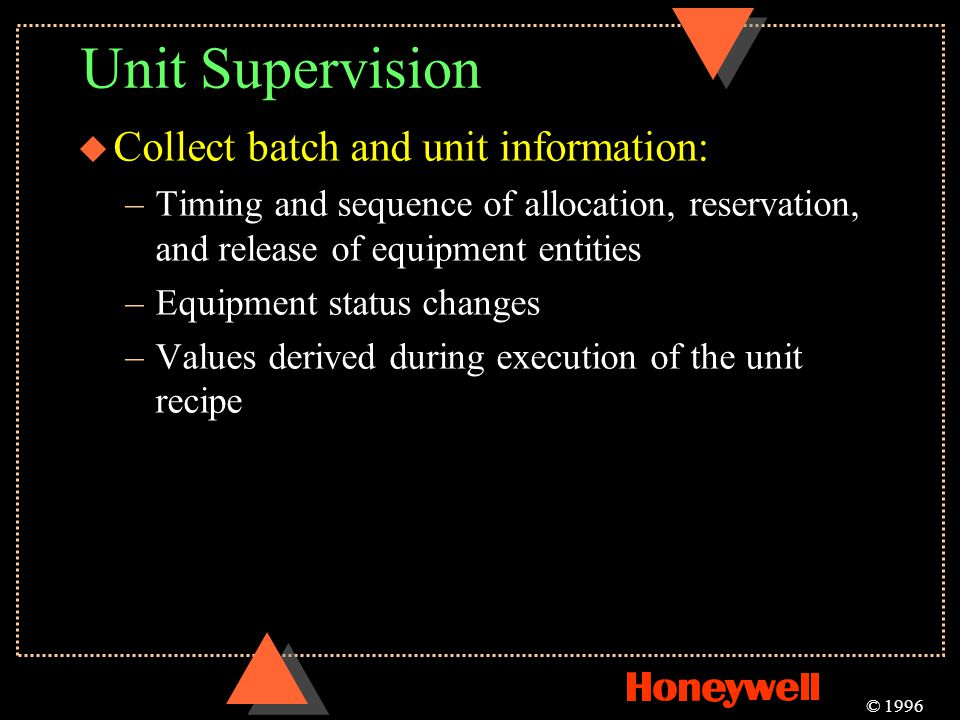 Unit Supervision Collect batch and unit information: