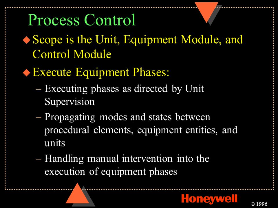 Process Control Scope is the Unit, Equipment Module, and Control Module. Execute Equipment Phases: