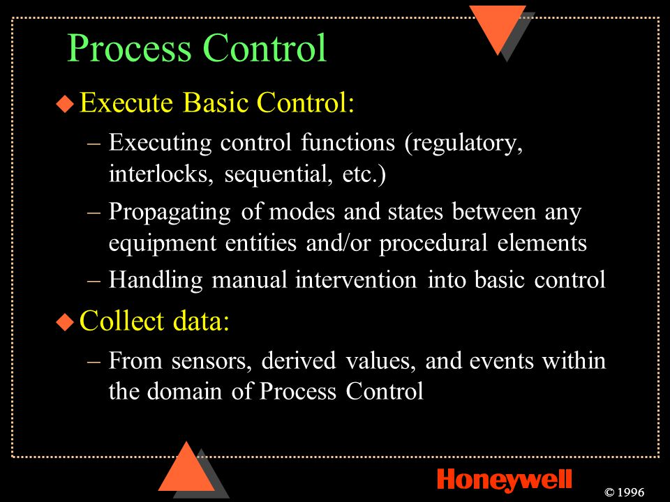 Process Control Execute Basic Control: Collect data: