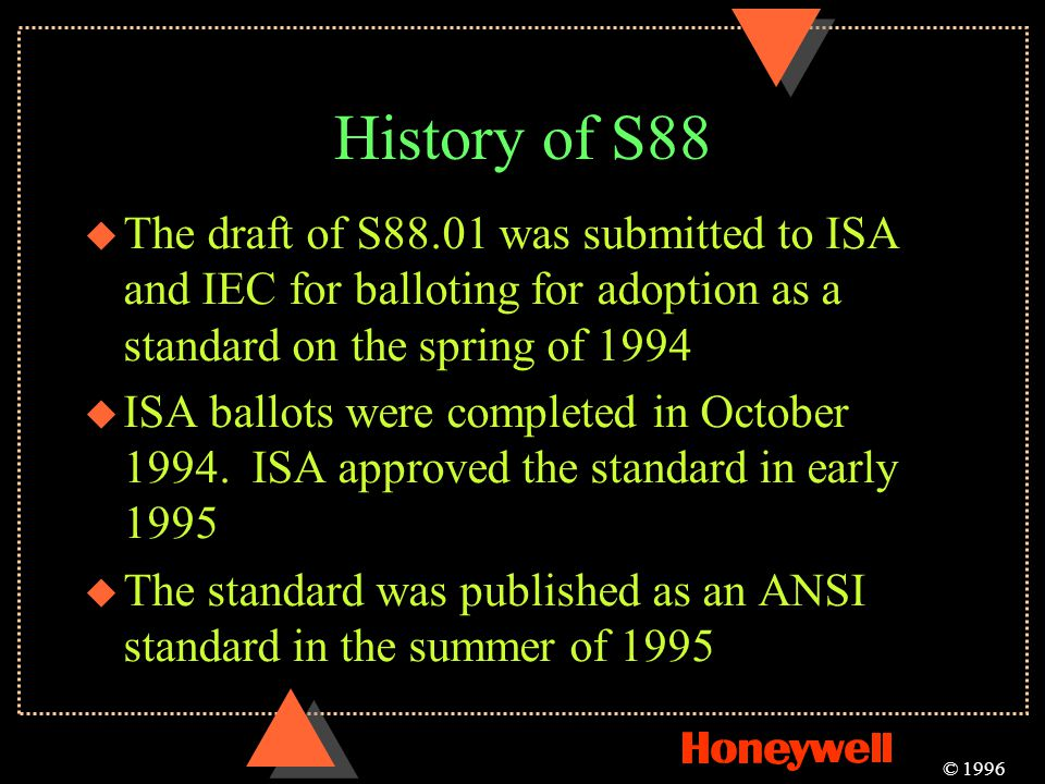 History of S88 The draft of S88.01 was submitted to ISA and IEC for balloting for adoption as a standard on the spring of 1994.