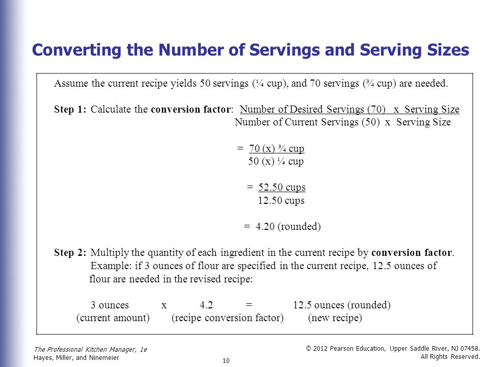 Converting the Number of Servings and Serving Sizes
