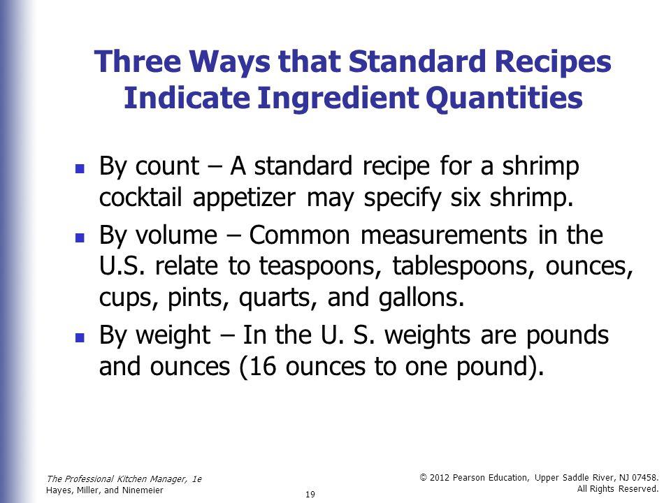 Three Ways that Standard Recipes Indicate Ingredient Quantities