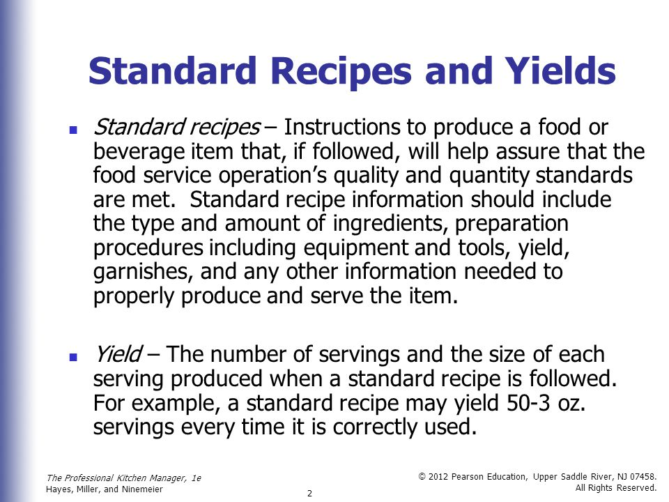 Standard Recipes and Yields