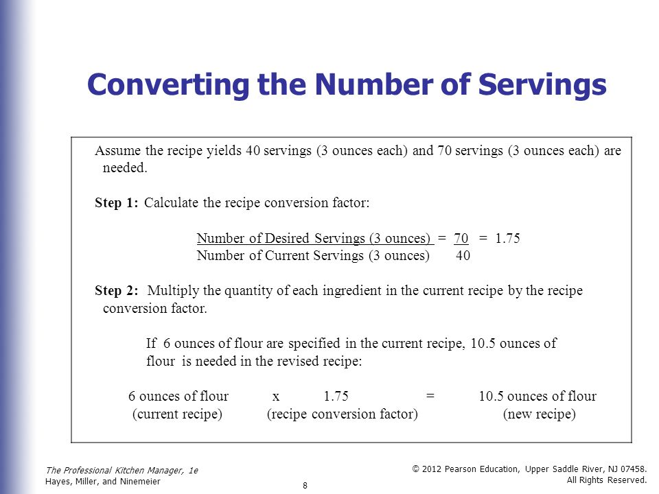 Converting the Number of Servings