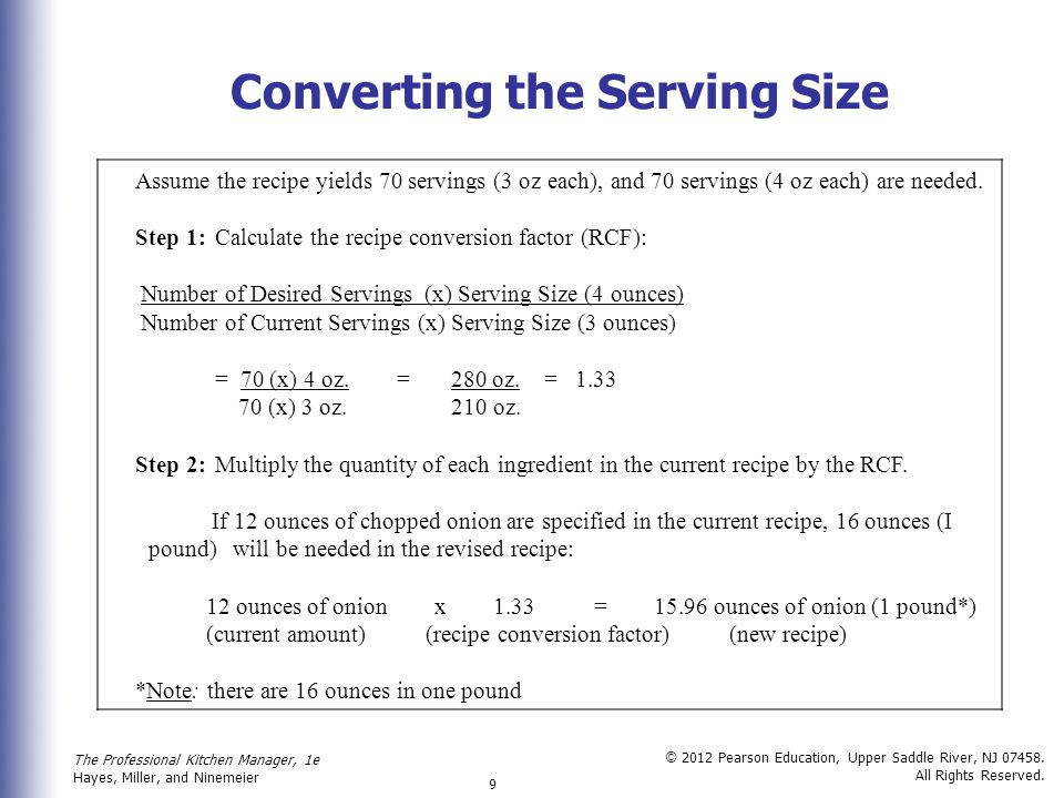Converting the Serving Size