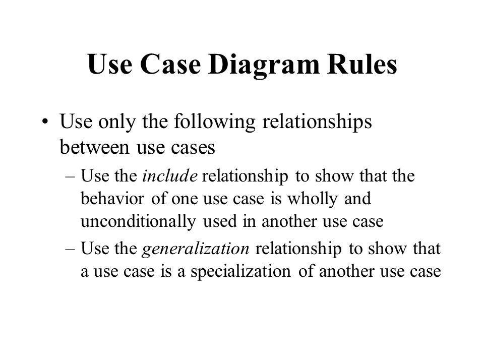 Use Case Diagram Rules Use only the following relationships between use cases.