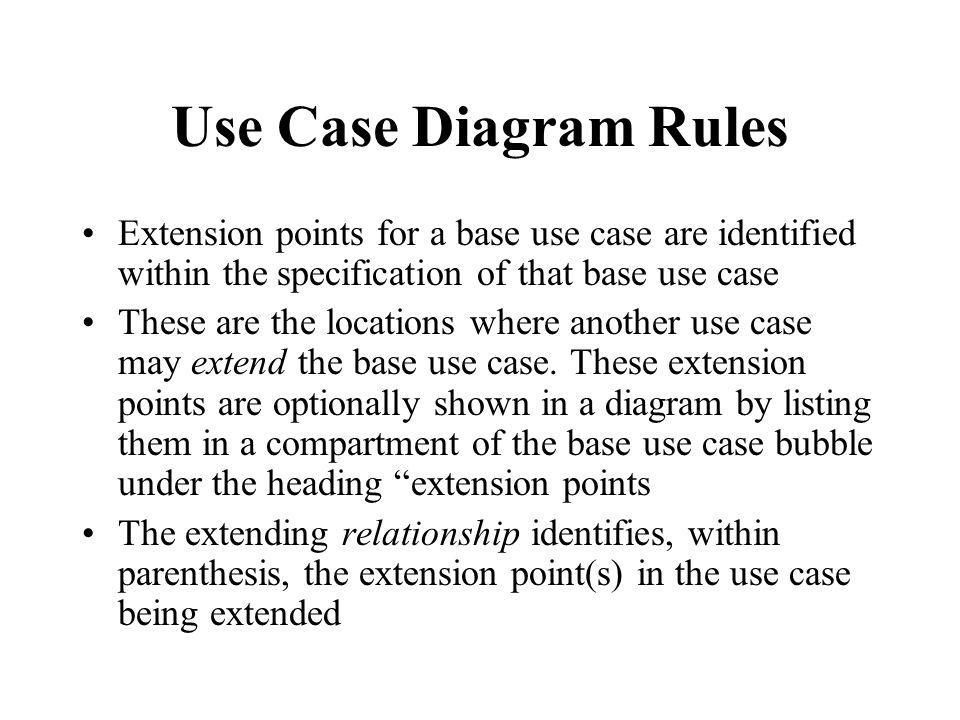 Use Case Diagram Rules Extension points for a base use case are identified within the specification of that base use case.