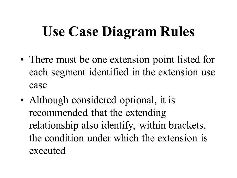 Use Case Diagram Rules There must be one extension point listed for each segment identified in the extension use case.
