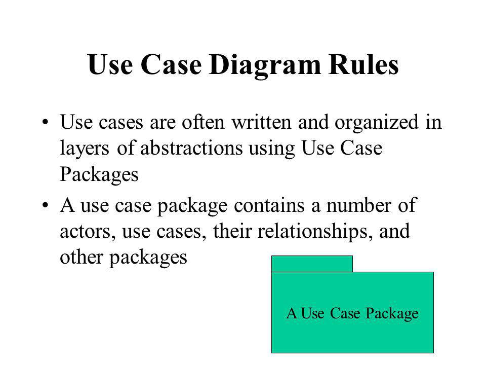 Use Case Diagram Rules Use cases are often written and organized in layers of abstractions using Use Case Packages.