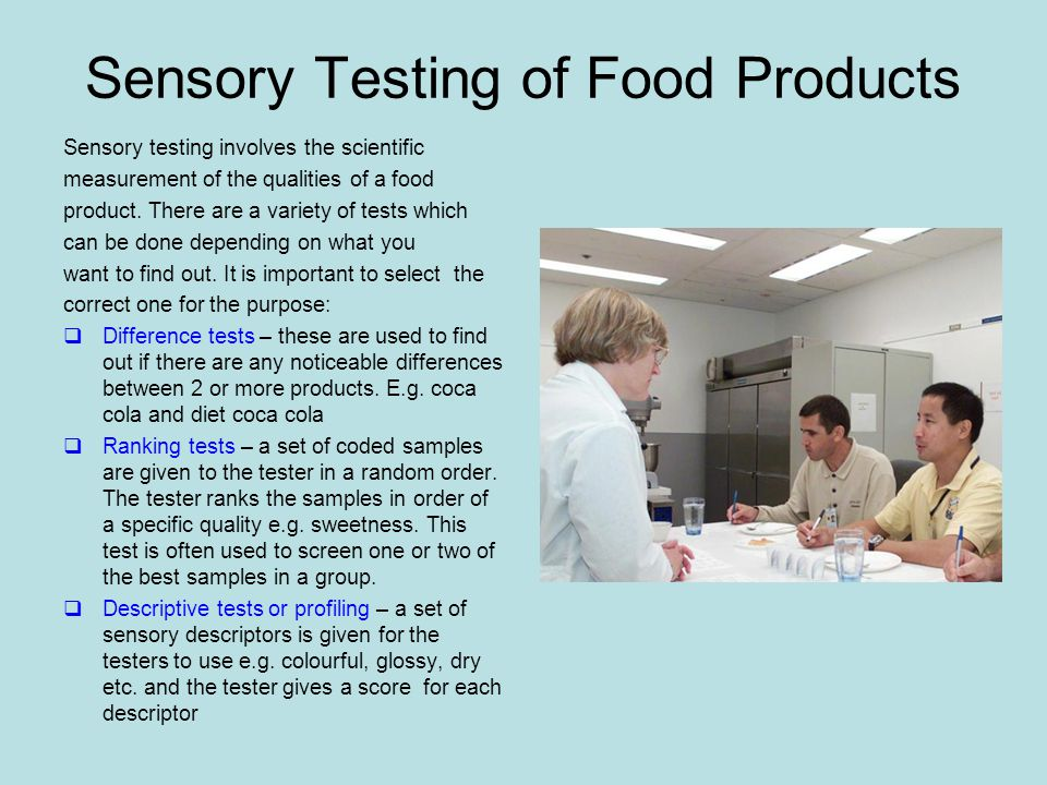 Sensory Testing of Food Products