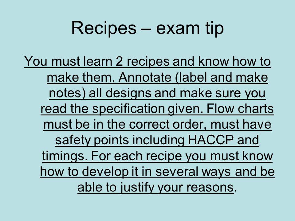 Recipes – exam tip