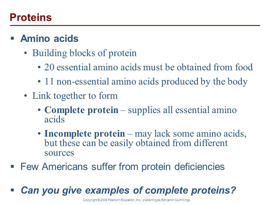 Proteins Amino acids Building blocks of protein