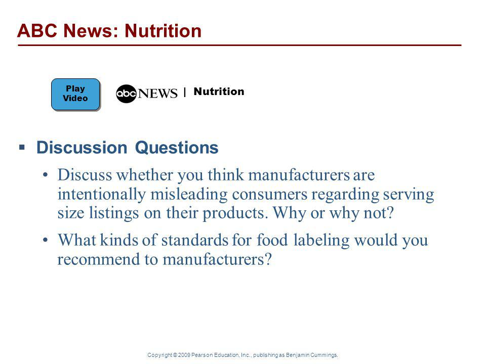 ABC News: Nutrition Discussion Questions